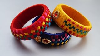 Making silk thread checker model bangles tutorial