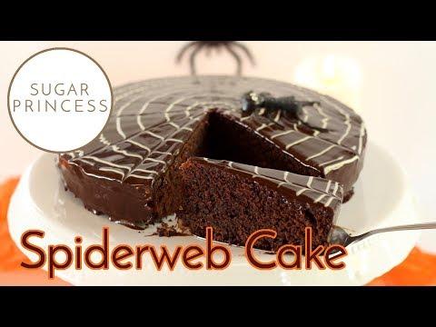 Spinnennetz-Torte: Ruck-Zuck-Sachertorte mit Spiderweb zu Halloween | Sugarprincess