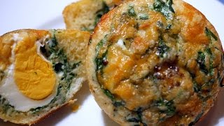 Simple Spinach and egg breakfast bread