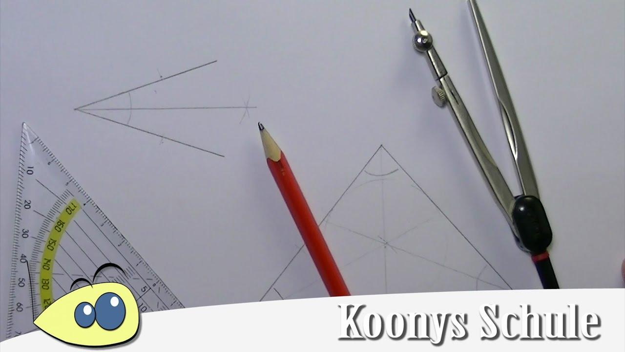 Winkelhalbierende konstruieren, Winkelhalbierende im Dreieck - YouTube