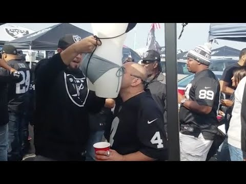 WTF? Raiders Fans CHUG Beer out of a Mannequin's Lady Parts