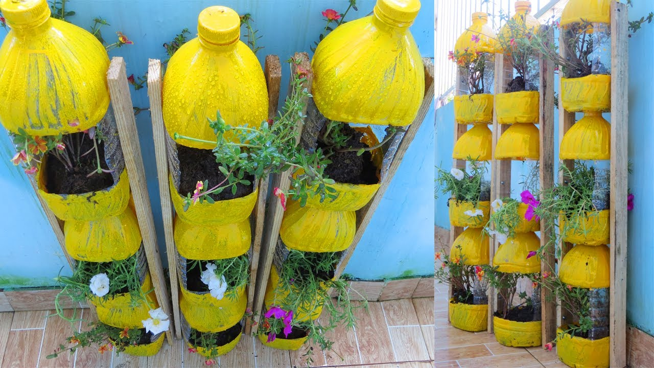 Creative ideas, Making Flower Tower Pots with plastic bottles