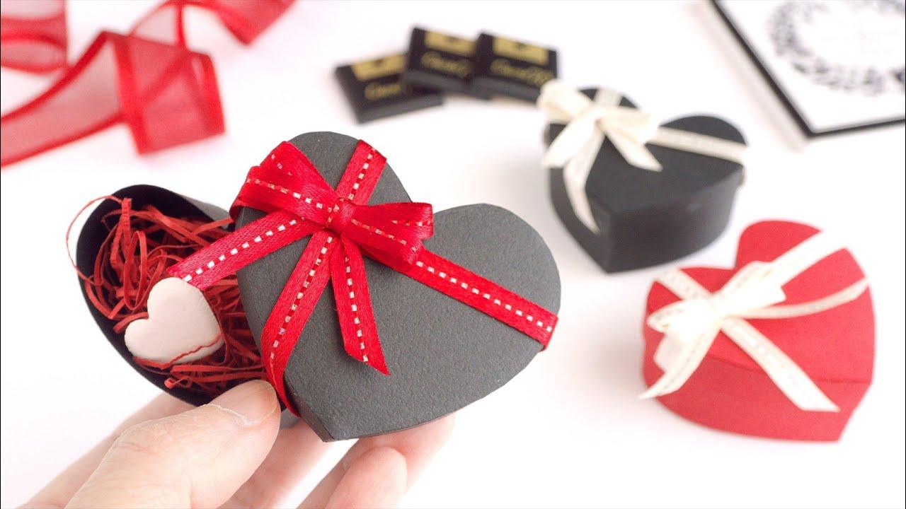 型紙不要で簡単!ふた付きハートのギフトボックスの作り方(バレンタイン) - How to Make a Heart Gift Box With a Lid / No Template