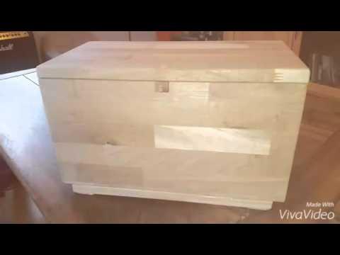 Wooden Secret puzzle box locked by code cam boîte en bois avec ouverture secrète