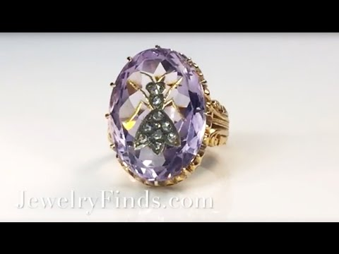 Antique Victorian 1890's Rose de France Amethyst Rose Cut Diamond Insect Fly Ring 14k
