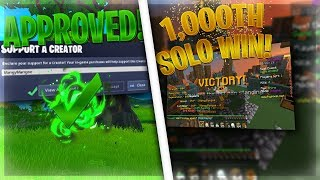 1000 Solo SW Wins + I got a Fortnite Support-A-Creator Code!