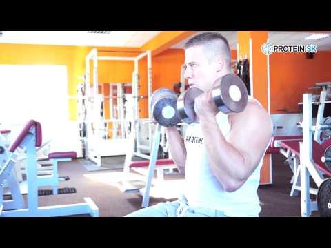 Cviky na biceps : Bicepsový zdvih s jednoručkami v sede - zásobník cvikov