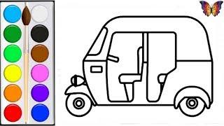 Как нарисовать ИГРУШКУ ТАКСИ РИКША, Раскраска ТАКСИ РИКША для детей. Раскраски Малышам.