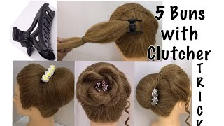 5 Juda Bun Hairstyles with Clutcher | Easy Hairstyles for Cute Girls | Hairstyle