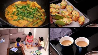 AFTERNOON TO DINNER ROUTINE | GarlicBread/DrumstickCurry | Evening tea time Routine | Dinner Routine