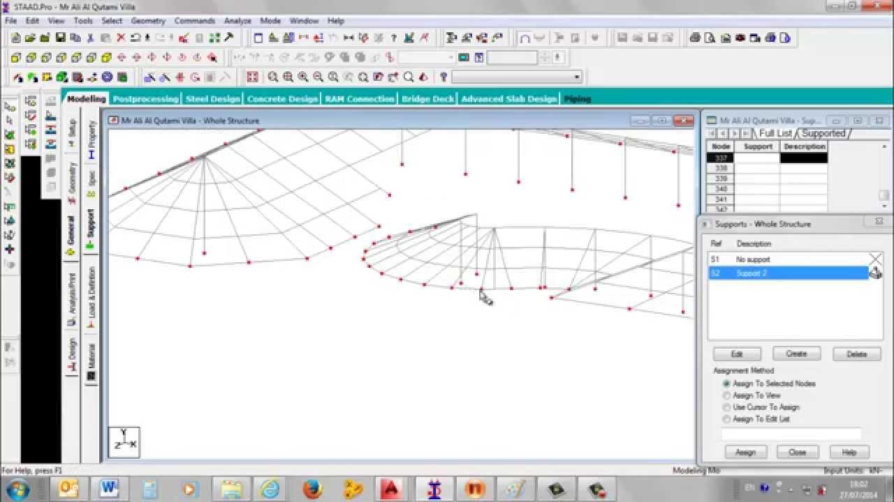 Staad pro modeling of roof structural steel framing works for Garage design software