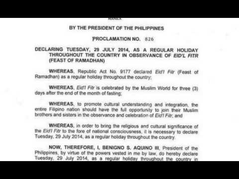 Aquino declared july 29 as national holiday in observance of eidl aquino declared july 29 as national holiday in observance of eidl fitr altavistaventures