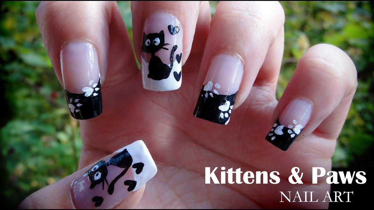 Kittens & Paws nail art - YouTube