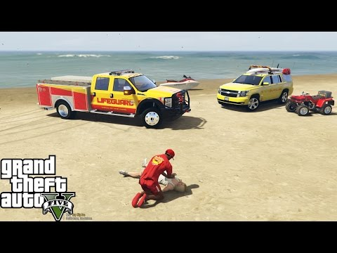 GTA 5 Play As A Lifeguard Mod   Cardiac Arrest On The Beach   F-350, Tahoe, 4 Wheeler & Jetski