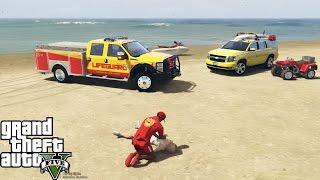 GTA 5 Play As A Lifeguard Mod | Cardiac Arrest On The Beach | F-350, Tahoe, 4 Wheeler & Jetski