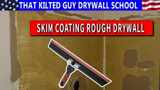 How to Skim Coat Rough Texture & Repair Torn Brown Drywall paper