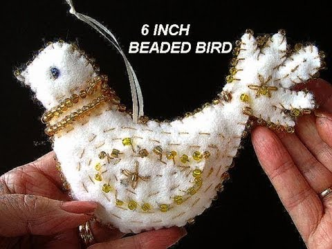 FELT BEADED BIRD, CHRISTMAS ornament DECORATION, free pattern, diy,  Partridge, sewing for beginners - YouTube - FELT BEADED BIRD, CHRISTMAS Ornament DECORATION, Free Pattern, Diy