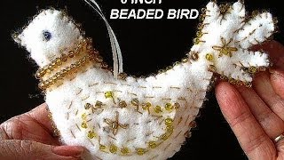 Felt Beaded Bird, Christmas Decoration, Free Download Pattern, Diy, Turtledove, Partridge, Ornament
