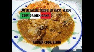 COSTILLAS DE CERDO EN SALSA VERDE | Carmen Cook Vlogs
