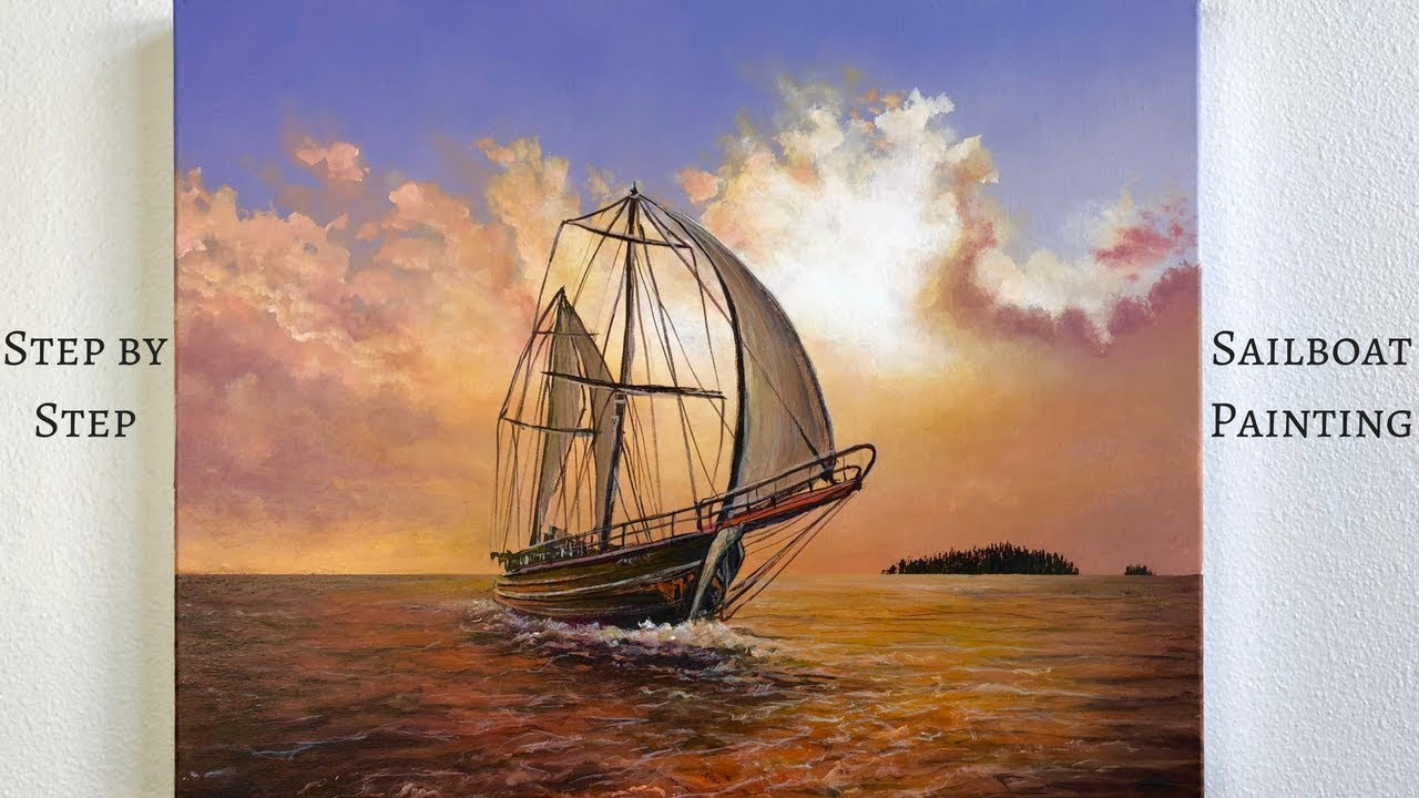 Sailboat Step By Step Acrylic Painting Colorbyfeliks