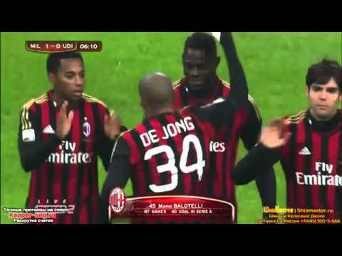 Mario Balotelli Goal  AC Milan vs Udinese 1-0  22.01.2014