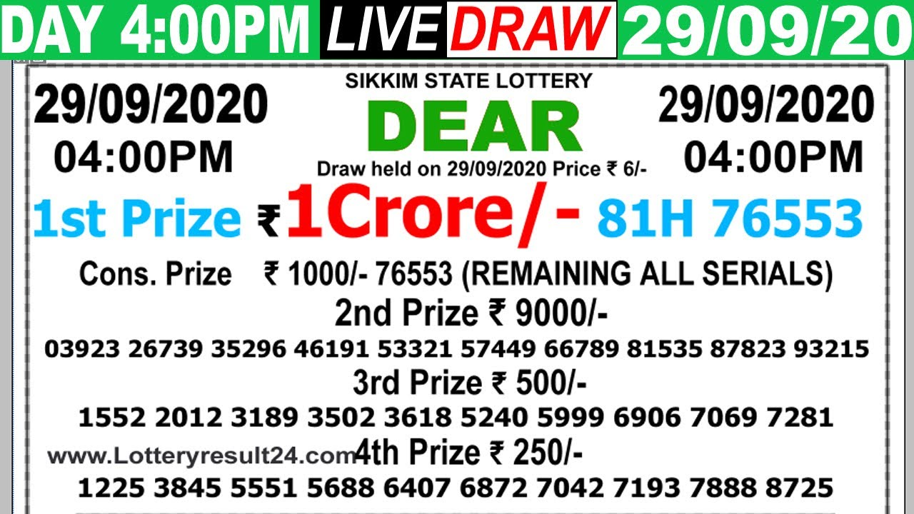 Lottery Sambad Live result 4PM Date29.09.2020 Dear Day SikkimLive Today Result Lottery khela
