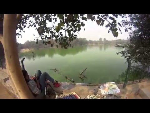 Deer park lake, Delhi,outdoor painting