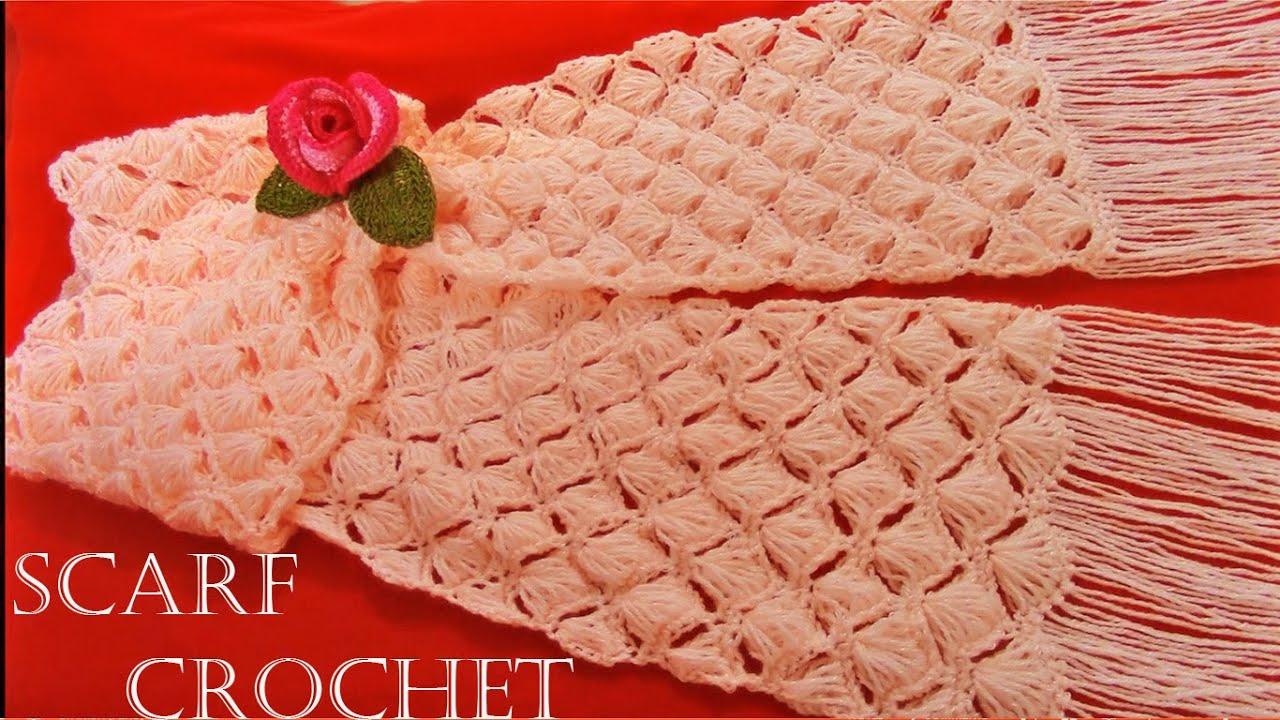 Como tejer a crochet bufanda f cil en punto conchas de - Como hacer ochos de punto ...