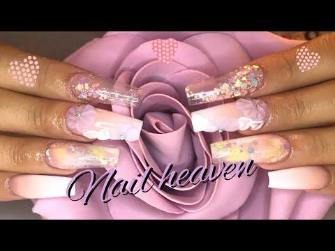 Flower design |Full set nail tutorial |How I ombré & marble thumbnail