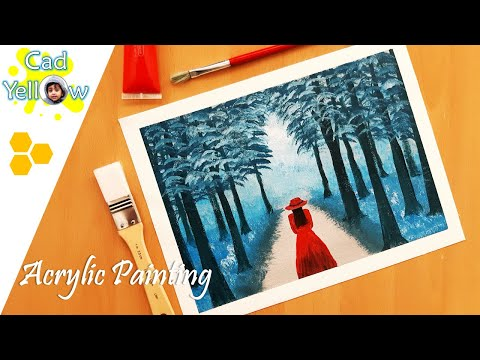 Blue Forest / Landscape Painting in Acrylic / Woman in Red / Relaxing Demo