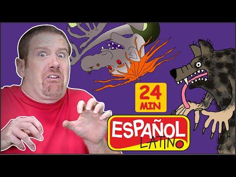 Halloween Monstruos + MS | Canciones de Halloween| Feliz Halloween| Steve and Maggie Espaol Latino