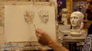 Обучение рисунку. Портрет. 9 серия: короткие рисунки обрубовки