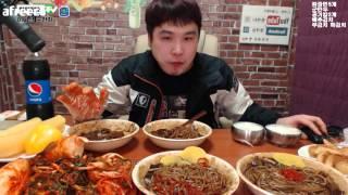 BJ 떵개입니다 짜장면5그릇에 맛좋은파김치 배추김치 군만두먹방 Hello!  Eating Show bj  ddung gae