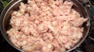 Esbit Emergency Stove:  Cooking Corned Beef Hash And Eggs