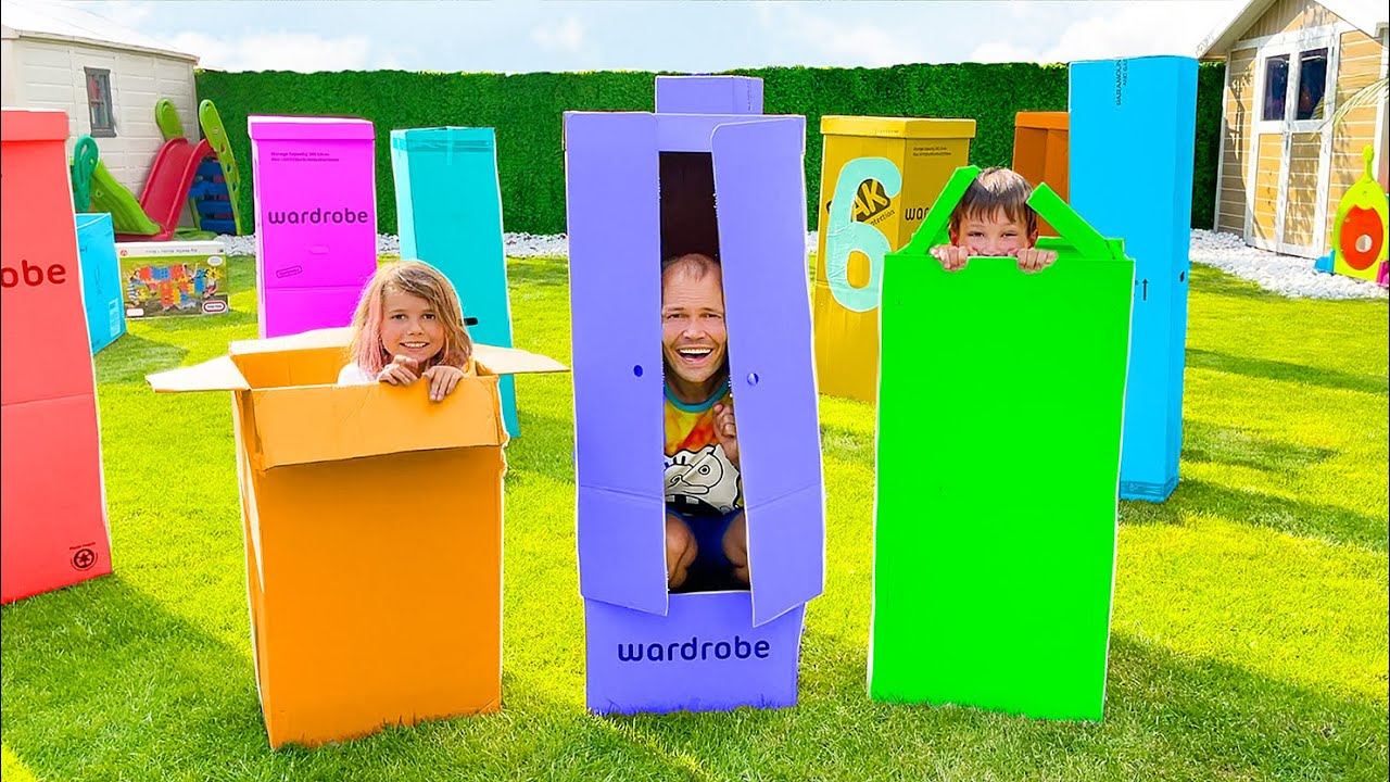 Прятки в огромных коробках от Макс и Катя