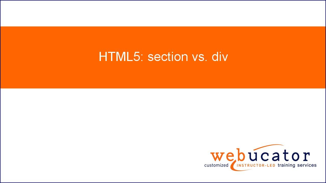 Html5 section vs div youtube for Div in html5