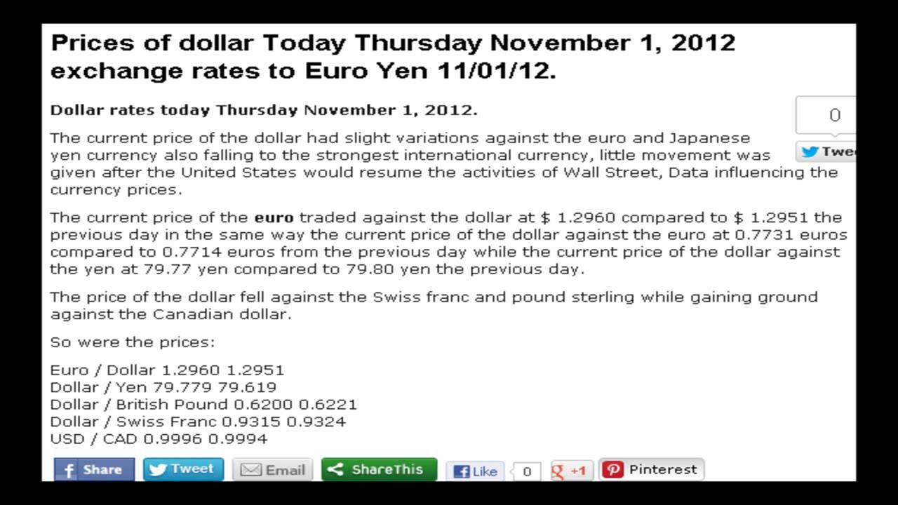 Price Of Dollar Today Thursday November 1 2017 Exchange Rates