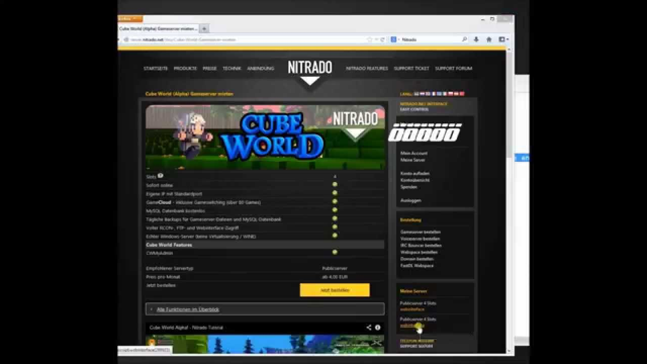Cube World Nitrado Server Cracked Erstellen YouTube - Minecraft cracked nitrado server erstellen