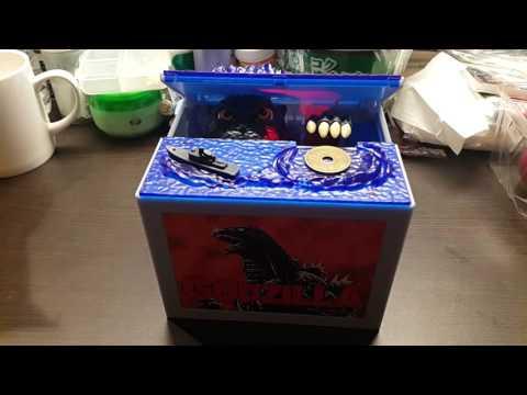 Godzilla in box coin bank