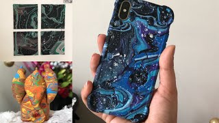 Acrylic Pouring Technique for beginners   DIY Mobile Case, Abstract Painting   Bee Kreativee