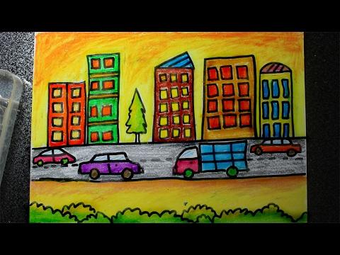 Cara Menggambar Pemandangan Kota Besar Dengan Crayon Youtube