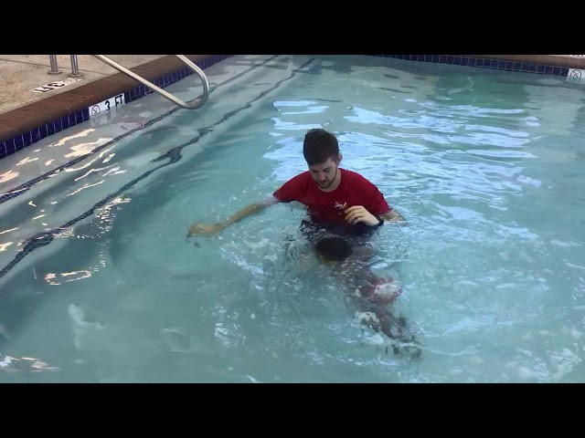Swim 10 ft with independent front breath