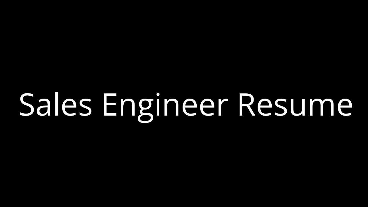 Sales Engineer Resume Pre Sales Engineer Austin Youtube