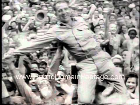 VE Day VJ Day End of WWII Celebrations Newsreel ...