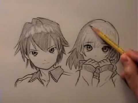 How to draw anime hair male and female