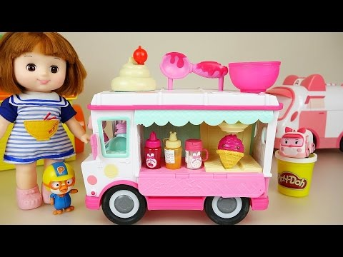 Thumbnail: Baby doll ice cream car toy and Play Doh play with Poli Pororo