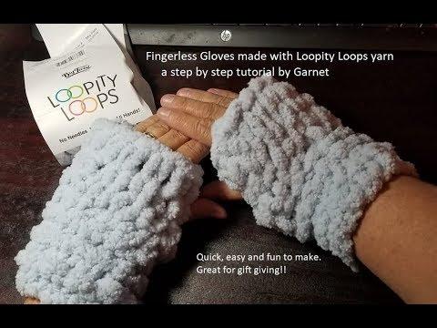 Diy How To Make Loop Yarn Fingerless Gloves A Tutorial Youtube