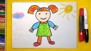 Как нарисовать Куклу, Урок рисования для детей от 3 лет