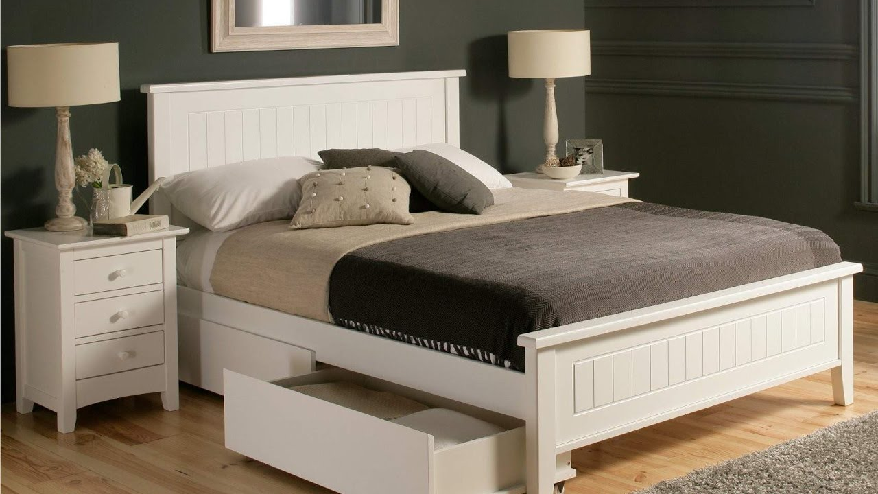 Wood Queen Bed Frame With Drawers Youtube