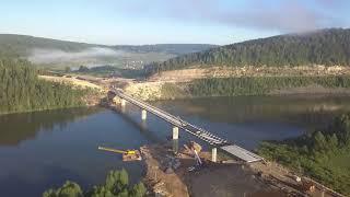 Строительство моста через реку Уфа. Караидель. Республика Башкортостан. Июль 2018 год